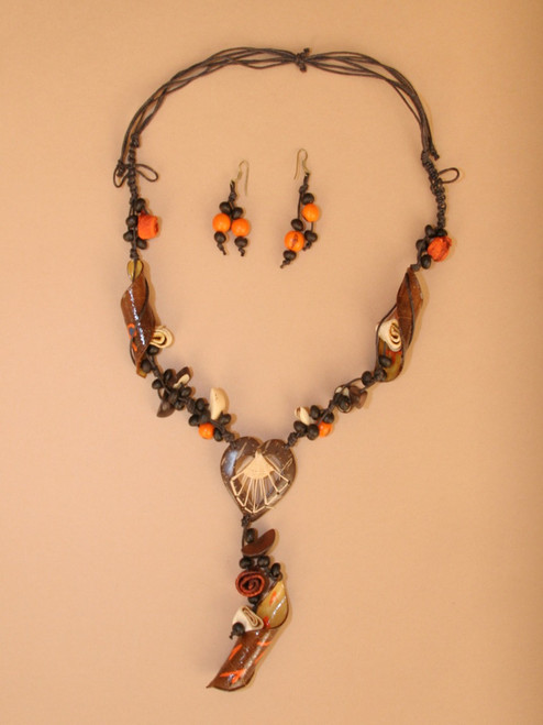 Orange Peel Heart Necklace and Earrings Set