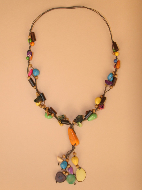 Multicolor Tagua  Seeds and Orange Peel Necklace