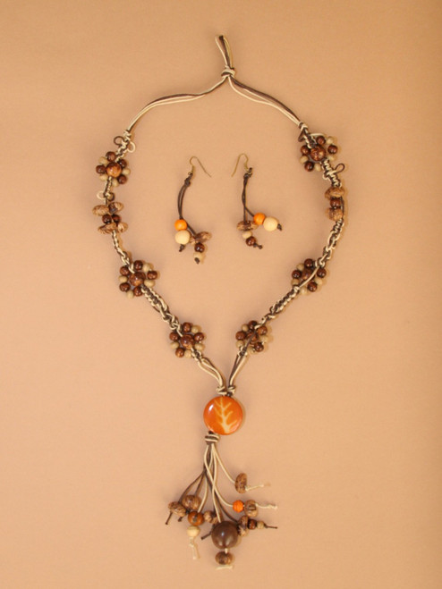 Orange Pendant and Brown Seeds Necklace  and Earrings Set