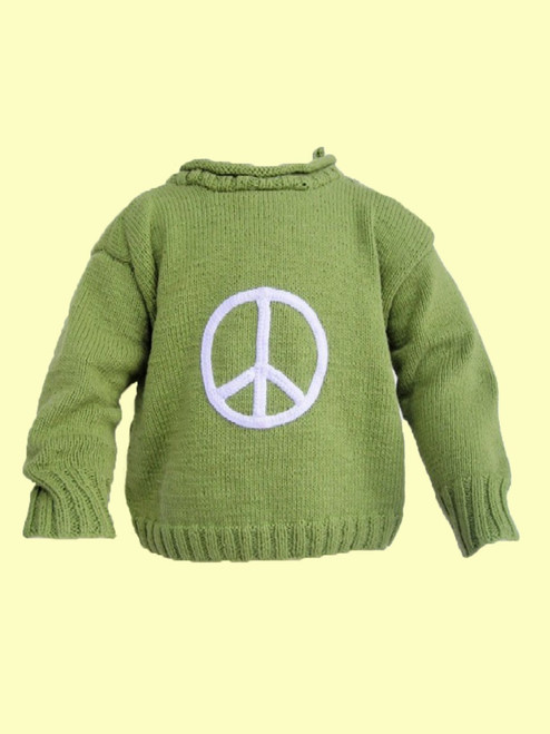 Peace Sign Motif Sweater - Fair Trade