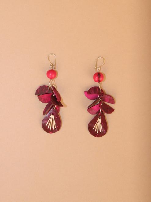 Red & Purple Teardrop Earrings