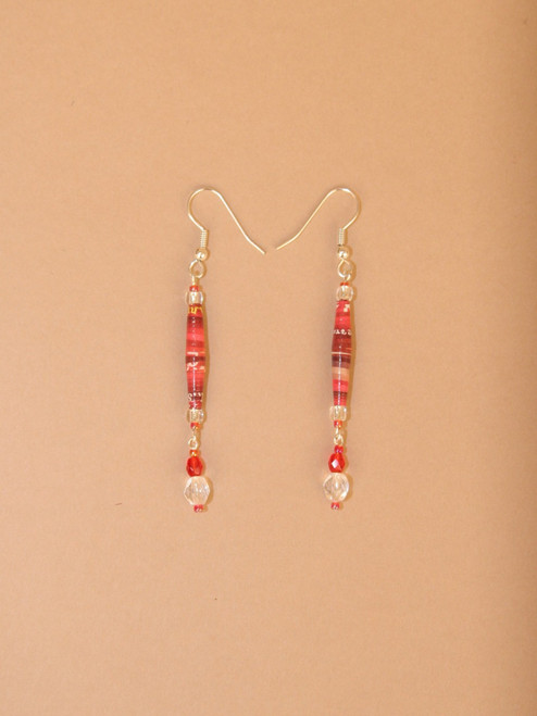 Red & Pink Single Strand  Earrings - Eco Beads