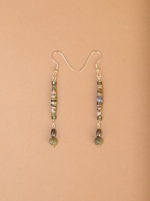 Sage Green Single Strand Earrings - Eco Beads