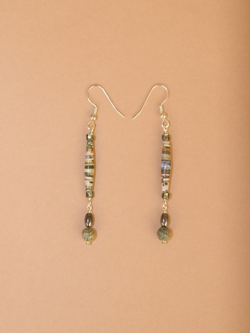 Sage Green Single Strand Earrings - Eco Beads