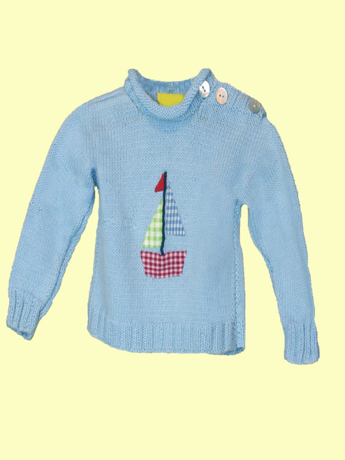 Sailboat Motif Sweater - Fair Trade