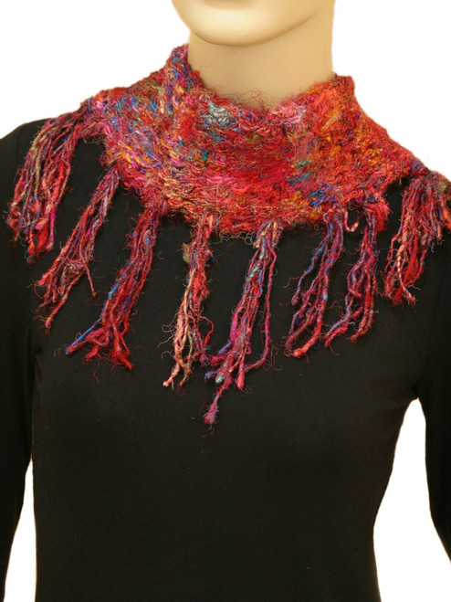 Recycled Silk Neck Scarf with Bone Button