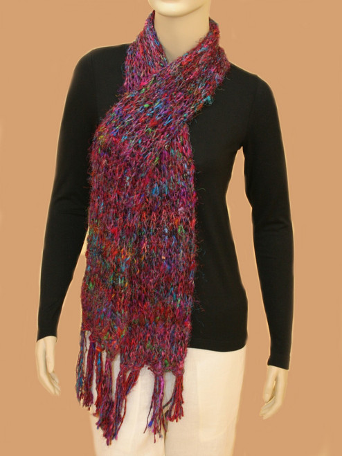 Recycled Silk Scarf  Vertical Knit