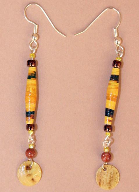 Golden Eco-Beads Single Strand Earrings