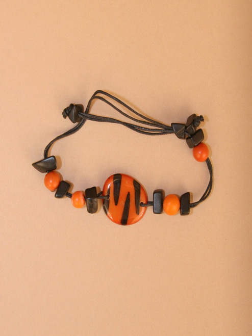 Orange and Black Tiger Tagua Bracelet
