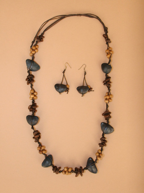 Black Tagua Seeds  Necklace and Earring Set