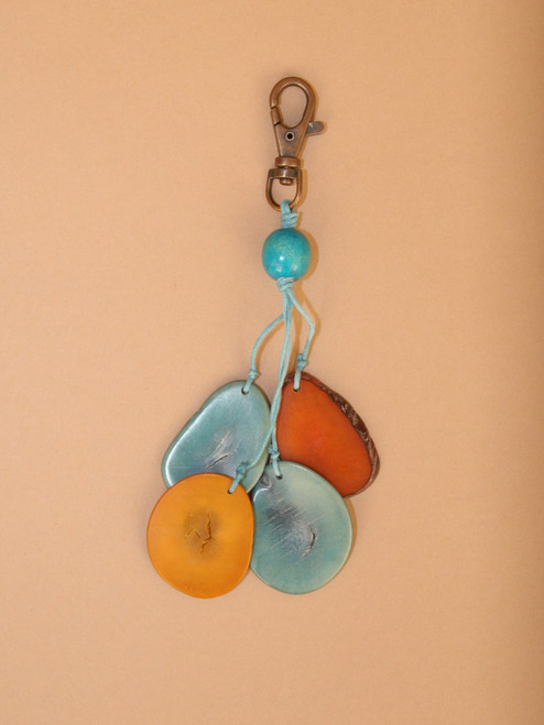 Blue & Natural Sliced Tagua Keychain