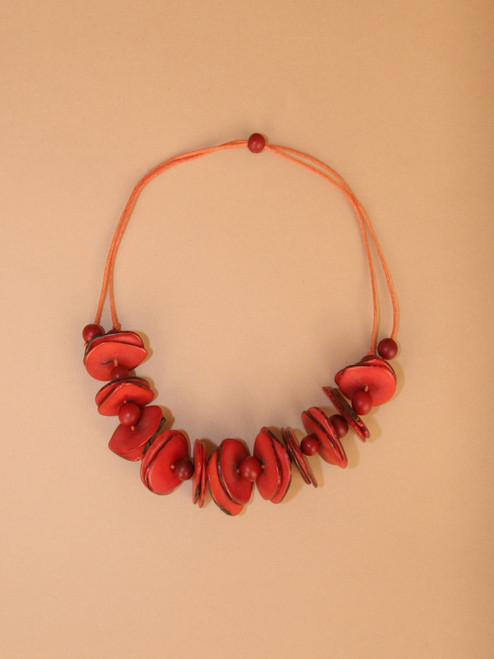 Red Tagua Slice  Short Necklace