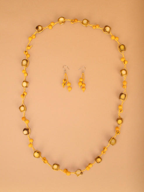 Yellow Tagua String Necklace and Earring Set