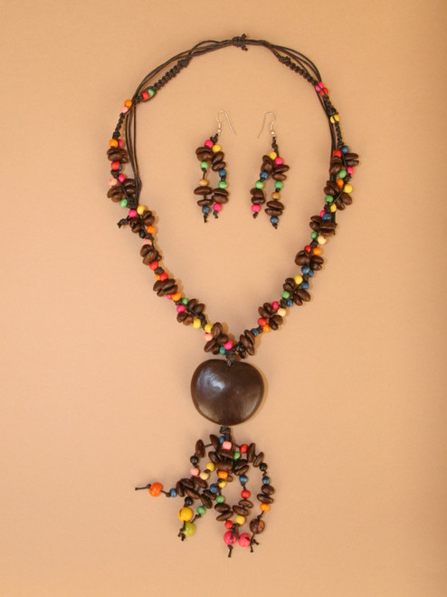 Tagua and Coffee Necklace and Earring Set