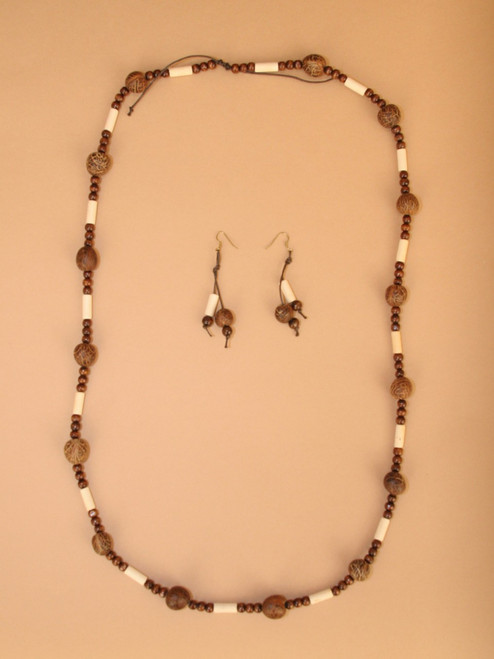 Tagua & Wood Necklace and Earring Set