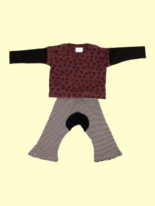 Wa-Tee Azuki & Black Monkey Pants Set - Organic Cotton