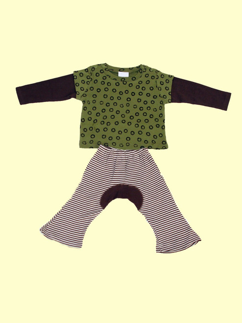 Organic Cotton Wa Tee Green Tea & Brown Monkey Pants
