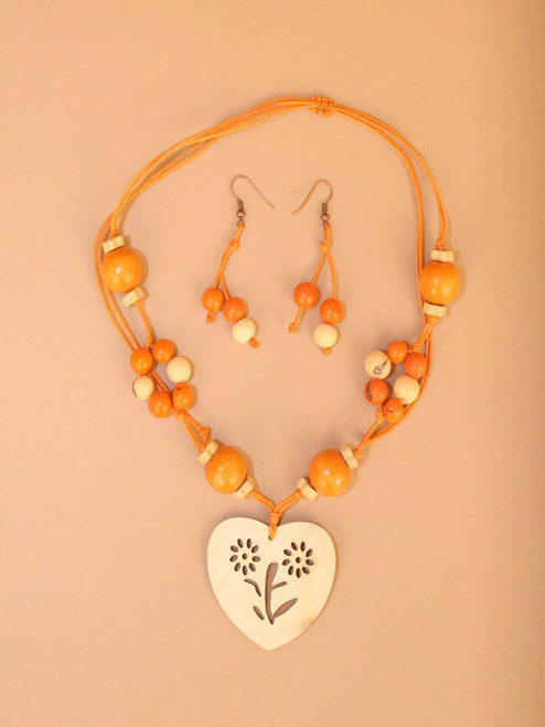 Wood Heart Necklace & Earring Sets