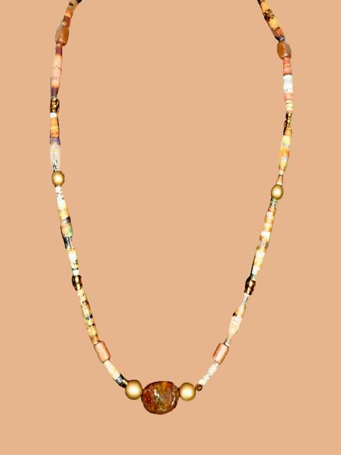 Yellow/Pink/Orange Single Strand Necklace