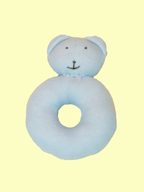 Baby Blue Ring Bear Teether . Certified 100% organic cotton - Fair Trade