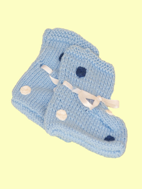Pale Blue Spot Booties - Fair Trade
