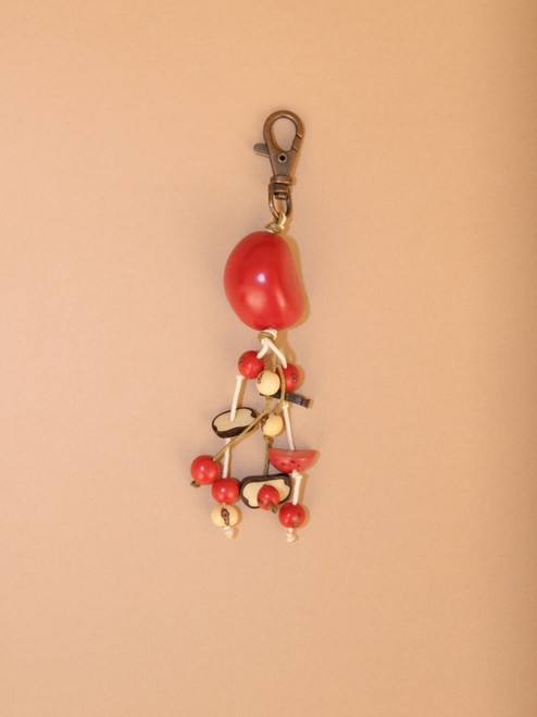 Red Tagua Seed Keychain