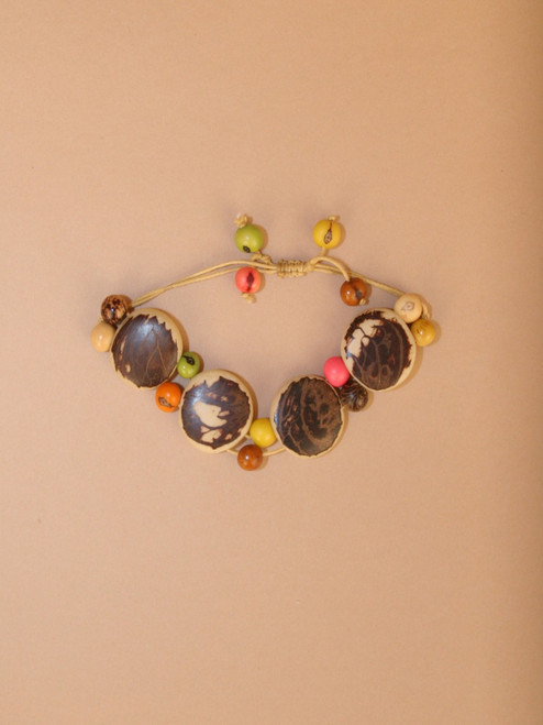 Natural & Brown Circles with Multicolor  Tagua Seeds  Bracelet