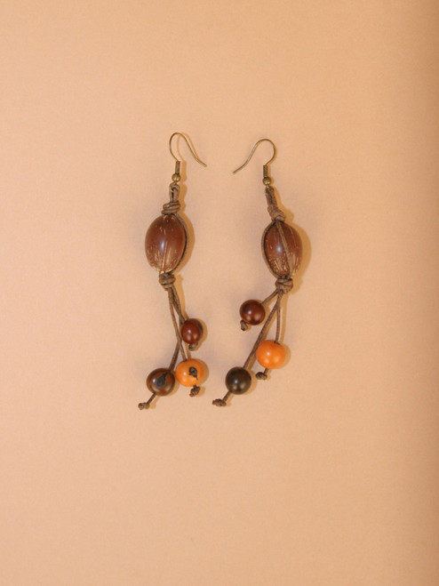 Multi Earthtones with Large Brown Seed Dangle Earrings