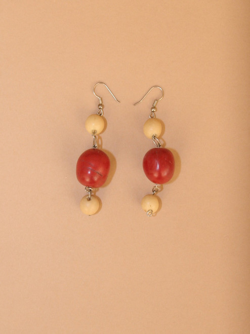 Dangle Red Tagua Seed Earrings