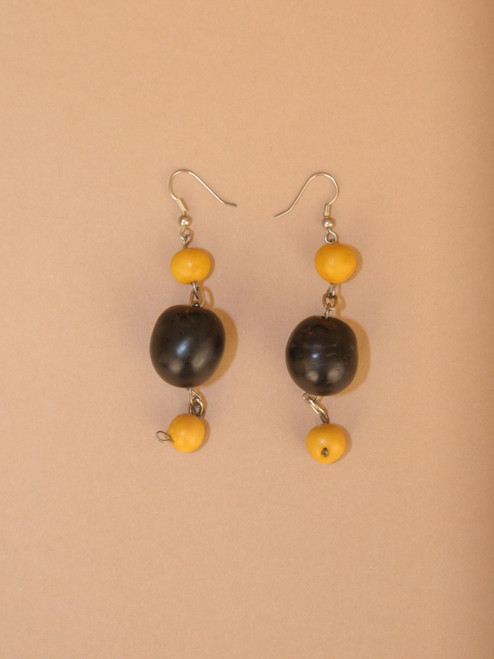 Black & Yellow Tagua Dangle Earrings