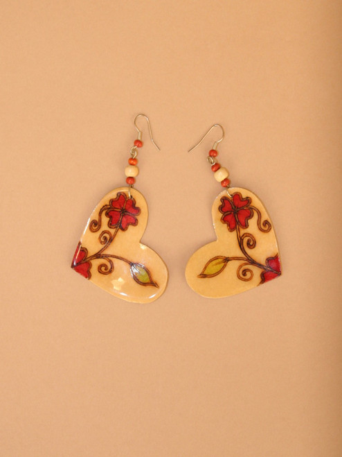 Heart & Flowers Coconut Dangle Earrings