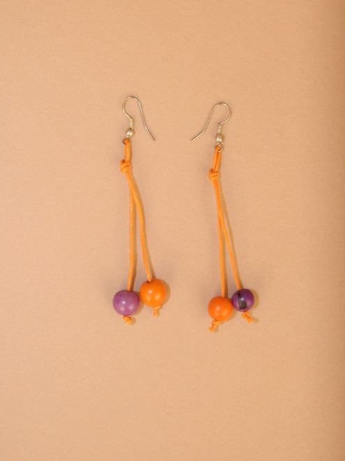 Small Orange & Purple Tagua Seeds Dangle Earrings