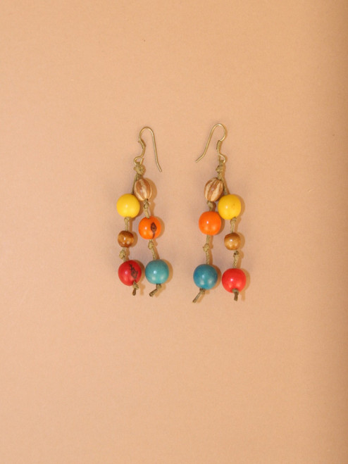 Multicolor Tagua Seeds Dangle Earrings