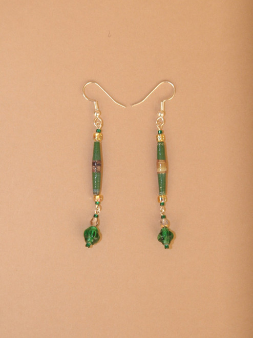 Green Single Strand Earrings