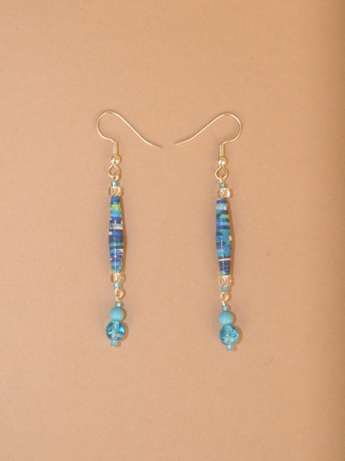 Turquoise Eco-Beads Single Strand Earrings