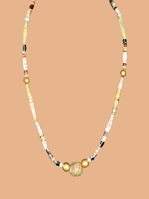 Gold Single Strand Necklace  - Eco Beads