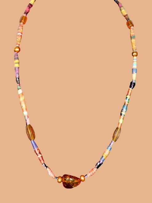 Golden Orange Single Strand Necklace - Eco Beads