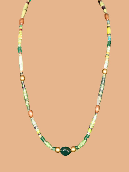 Green Stone Single Strand Necklace  - Eco Beads