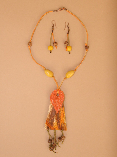 Orange and Yellow Fique Necklace and Earring Set