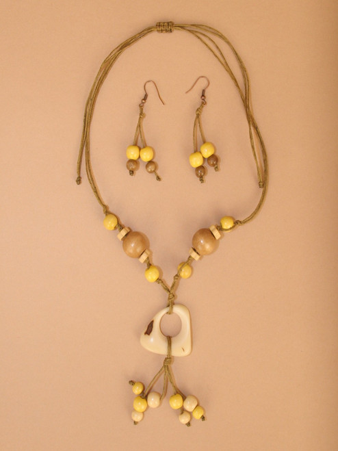 Yellow Tagua Necklace and Earring Set