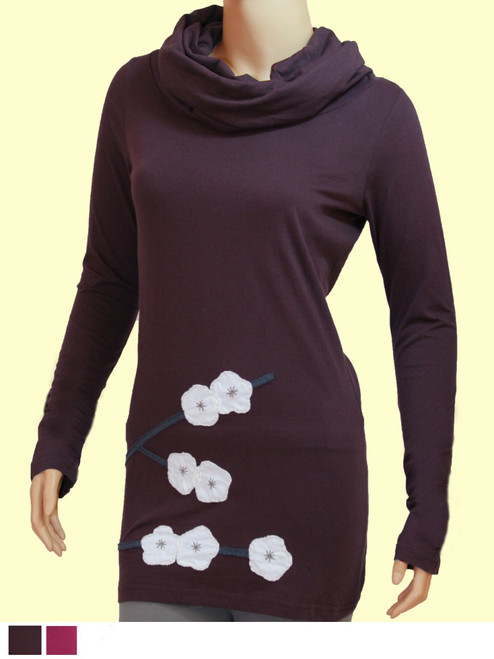 Cherry Blossom Long Cowl Neck Tunic - Organic Cotton