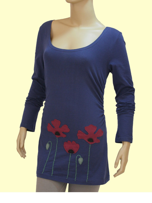 Emma Long Sleeve Top Poppy Appliqué - Organic Cotton