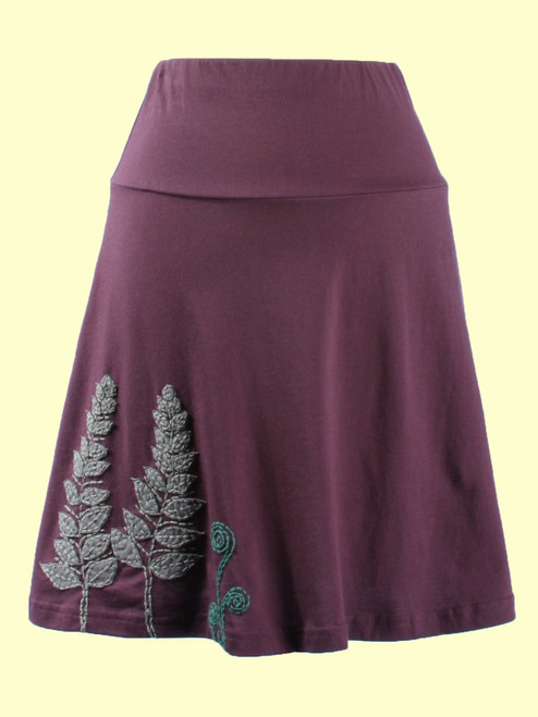 A-Line Skirt with Fern Appliqué - Organic Cotton