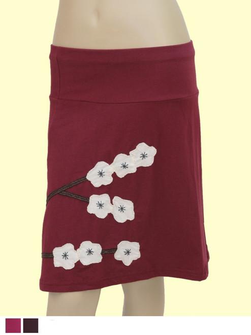 A-Line Skirt with Cherry Blossom Appliqué - Organic Cotton