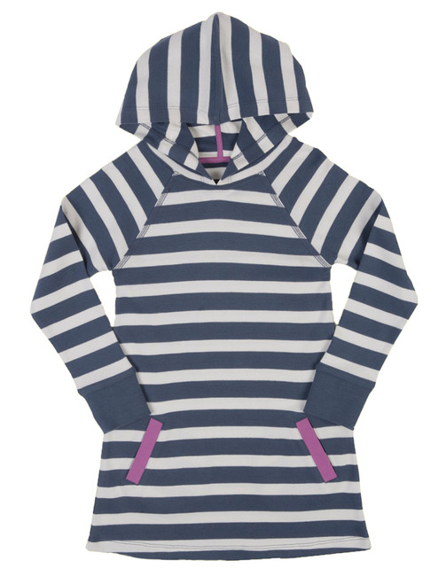 Girl's Stripy Hooded Dress - Organic Cotton