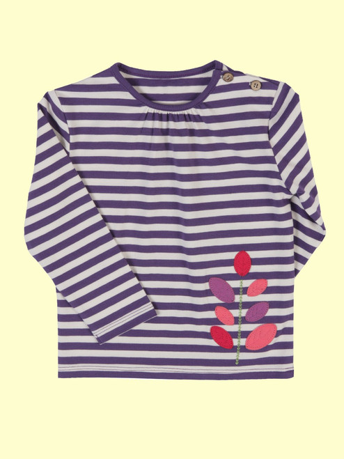 Stripy Leaf T-Shirt  - Organic Cotton