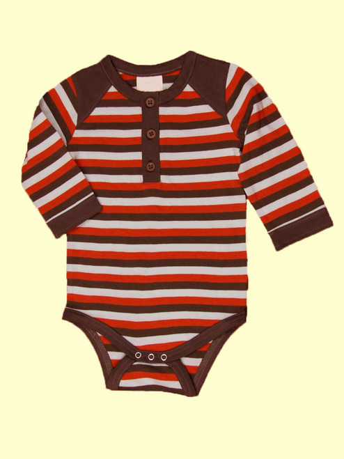 Tri-Stripe Long Sleeve Henley Bodysuit - Organic Cotton
