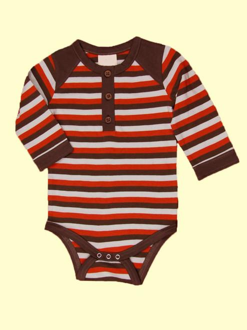 Tri-Stripe Long Sleeve Henley Bodysuit - Organic Cotton