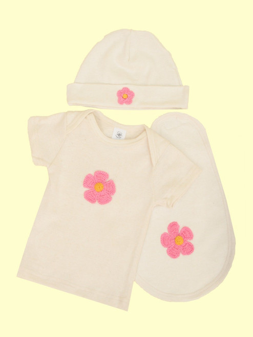 Layette Set, Flower Design - Hemp & Organic Cotton