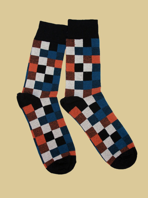 Men's Portland Plaid Crew Sock - Organic Cotton
